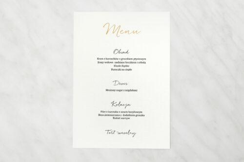 Menu weselne do zaproszenia Minimalistyczne ze złotem – Eleganckie