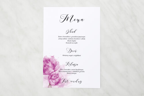 Menu weselne - Namalowane Kwiaty - Fioletowe kwiaty