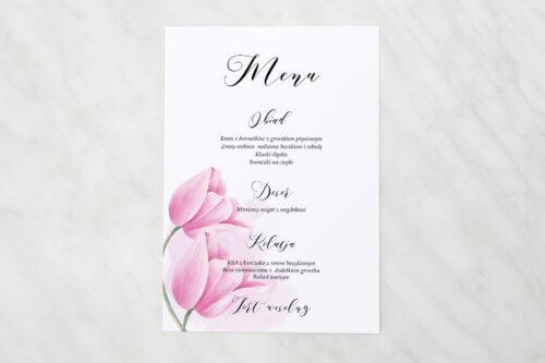 Menu weselne - Namalowane Kwiaty - Tulipanowe