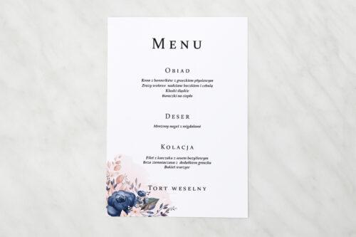 Menu weselne - Pionowe ze wstążką – Granatowy akcent