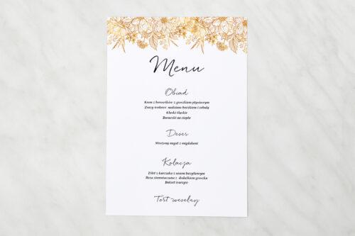 Menu weselne pasujące do zaproszeń jednokartkowe z Kwiatami - Złote kwiaty