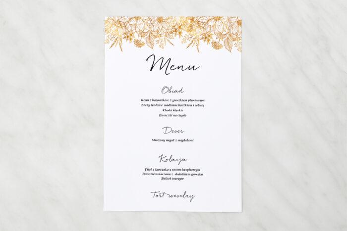 menu-weselne-pasujace-do-zaproszen-jednokartkowe-z-kwiatami-zlote-kwiaty-papier-matowy