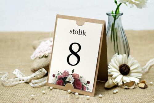 Numer stolika do zaproszenia ślubnego Boho Eleganckie – Czerwono biały bukiet