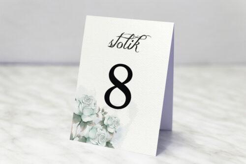 Numer stolika do zaproszenia ślubnego Kwiatowe Gałązki - Błękitne Róże
