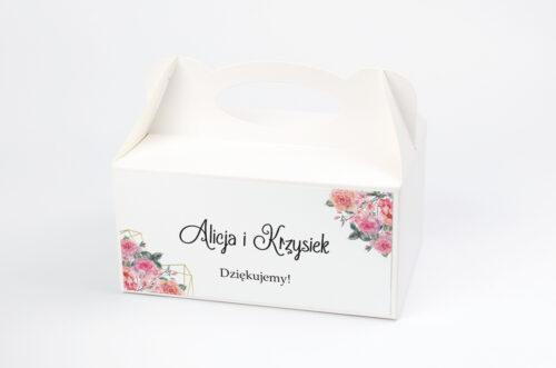 Pudełko na ciasto do zaproszenia ze zdjęciem i sznurkiem - Różowy bukiet w sercu