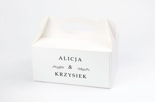 pudełko na ciasto do zaproszenia minimalistyczne delikatne