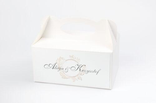 pudełko na ciasto do zaproszenia minimalistyczne magnolia