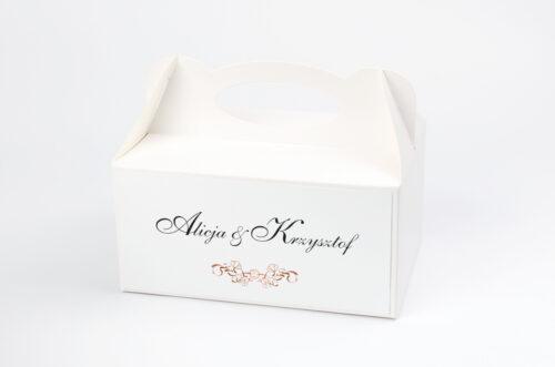 pudełko na ciasto do zaproszenia minimalistyczne ornament
