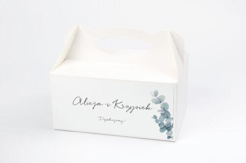 Ozdobne pudełko na ciasto - Bukiet ze wstążką - Eukaliptus