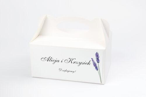 Ozdobne pudełko na ciasto - Bukiet ze wstążką - Lawenda