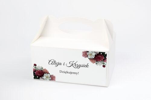 Ozdobne pudełko na ciasto - Boho Eleganckie – Czerwono biały bukiet