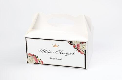 Ozdobne pudełko na ciasto do zaproszenia z lakiem – Szykowne z różami