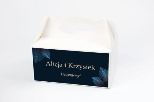 pudełko na ciasto geometryczne nowoczesne niebieskie listki