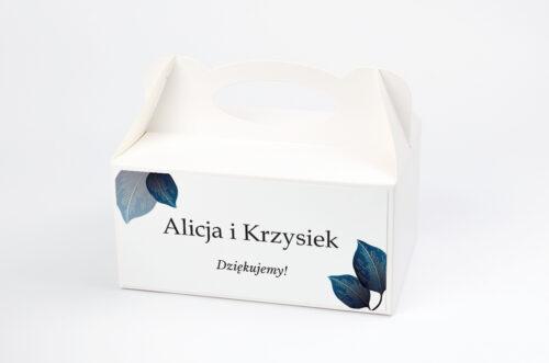 Ozdobne pudełko na ciasto - Geometryczne Nowoczesne – Niebieskie Listki Jasne