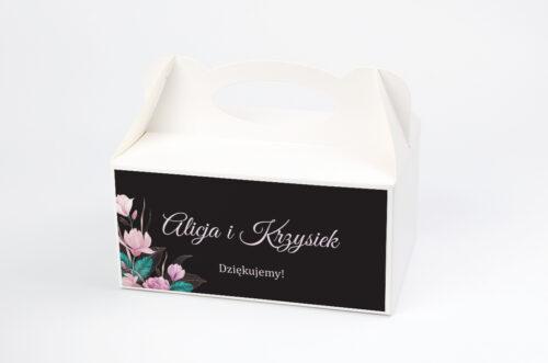 Ozdobne pudełko na ciasto - Geometryczne Serce – Różowe Kwiaty Ciemne