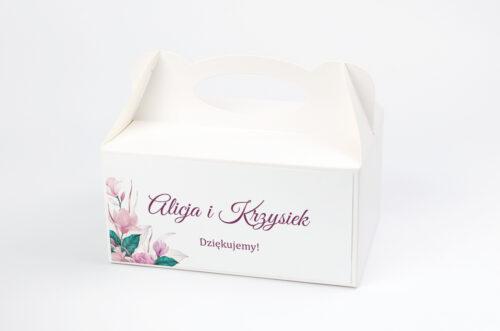 Ozdobne pudełko na ciasto - Geometryczne Serce – Różowe Kwiaty Jasne