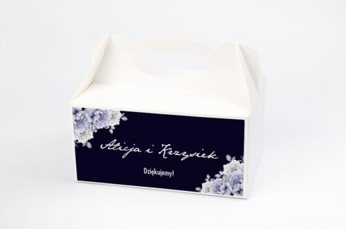 Ozdobne pudełko na ciasto - Kontrastowe z kwiatami - Niebieskie róże