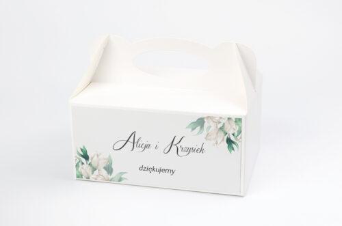 Ozdobne pudełko na ciasto - Kwiatowe Gałązki - Białe Róże
