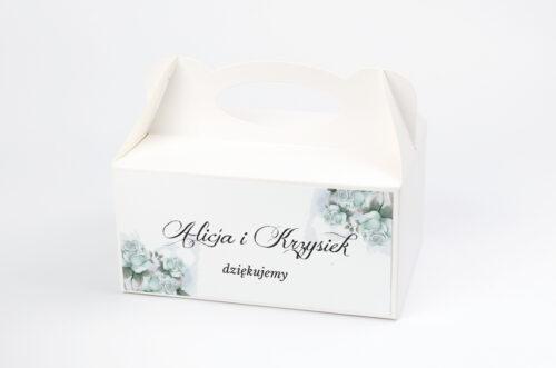 Ozdobne pudełko na ciasto - Kwiatowe Gałązki - Błękitne Róże