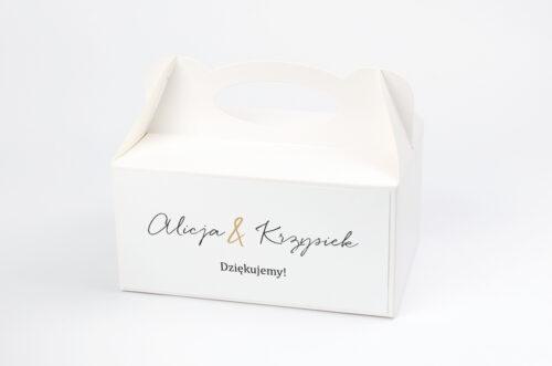 Pudełko na ciasto do zaproszenia Minimalistyczne ze złotem – Eleganckie