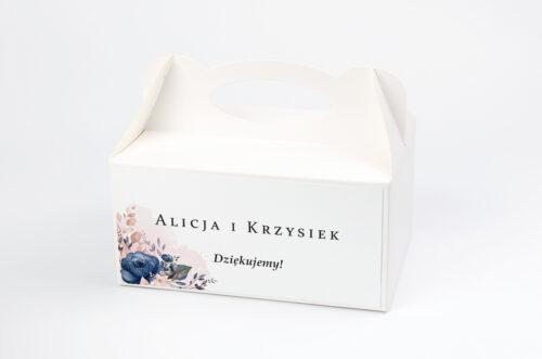 Ozdobne pudełko na ciasto - Pionowe ze wstążką – Granatowy akcent