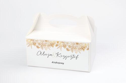 Ozdobne pudełko na ciasto - Jednokartkowe z Kwiatami - Złote kwiaty