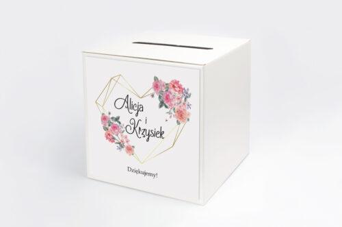 Personalizowane pudełko na koperty do zaproszenia ze zdjęciem i sznurkiem - Różowy bukiet w sercu