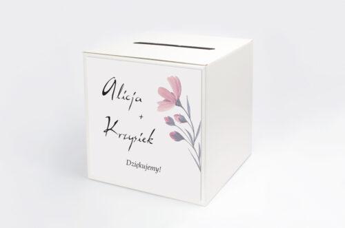 Personalizowane pudełko na koperty - Bukiet ze wstążką - Delikatnie różowy