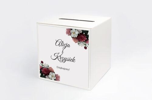 Personalizowane pudełko na koperty - Boho Eleganckie – Czerwono biały bukiet