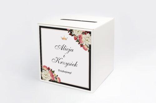 Personalizowane pudełko na koperty do zaproszenia z lakiem – Szykowne z różami