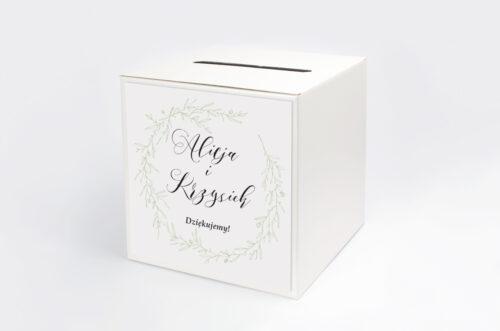 Pudełko na koperty do zaproszenia eco z koronkowym kółeczkiem – Wianuszek