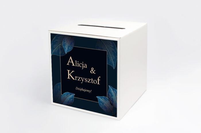 personalizowane-pudelko-na-koperty-geometryczne-nowoczesne-niebieskie-listki-ciemne-papier-satynowany-pudelko-