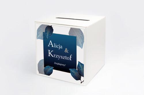 pudełko na koperty geometryczne nowoczesne niebieskie listki