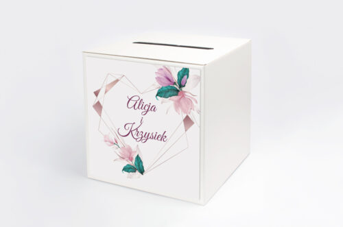 Personalizowane pudełko na koperty - Geometryczne Serce – Różowe Kwiaty Jasne