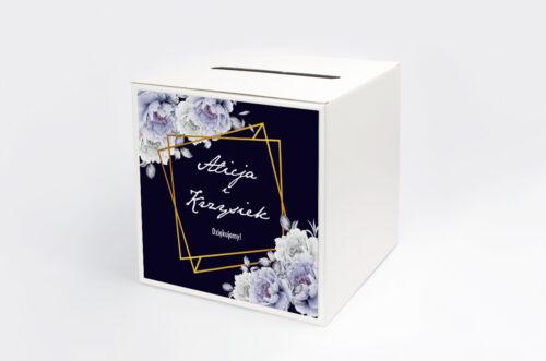 Personalizowane pudełko na koperty - Kontrastowe z kwiatami - Niebieskie róże