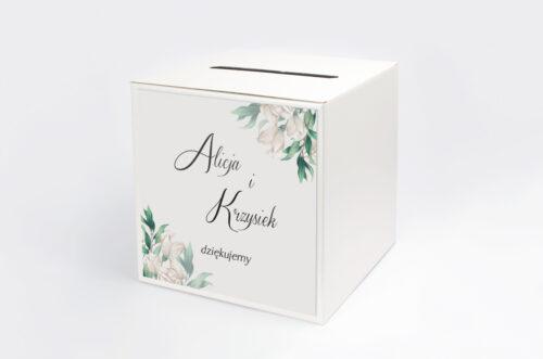 Personalizowane pudełko na koperty - Kwiatowe Gałązki - Białe Róże