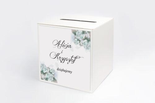 Personalizowane pudełko na koperty - Kwiatowe Gałązki - Błękitne Róże