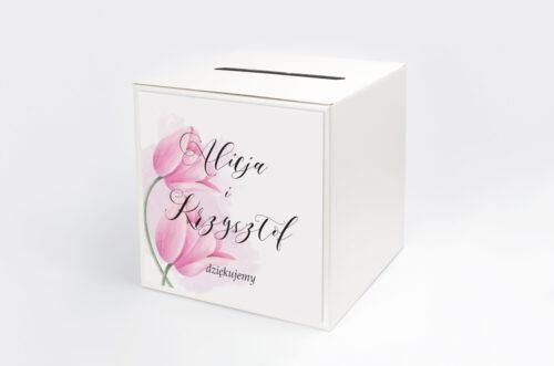 Pudełko na koperty do zaproszenia Namalowane Kwiaty - Tulipanowe