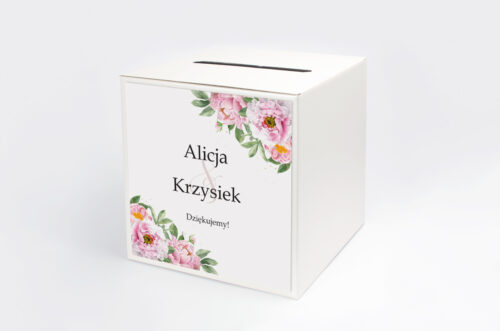 Personalizowane pudełko na koperty do zaproszenia ze sznurkiem – Różowe piwonie