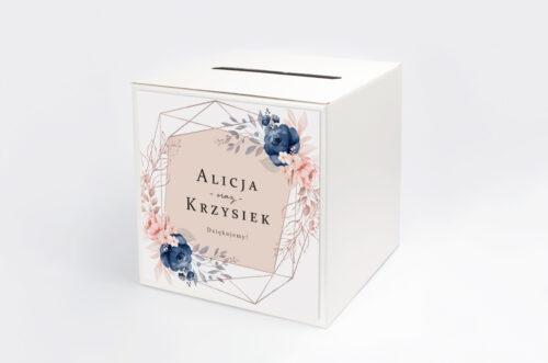 Personalizowane pudełko na koperty - Pionowe ze wstążką – Granatowy akcent