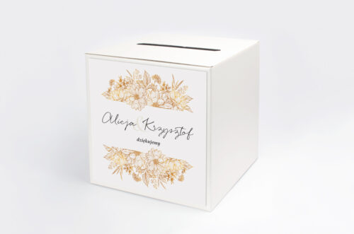Personalizowane pudełko na koperty - Jednokartkowe z Kwiatami - Złote kwiaty