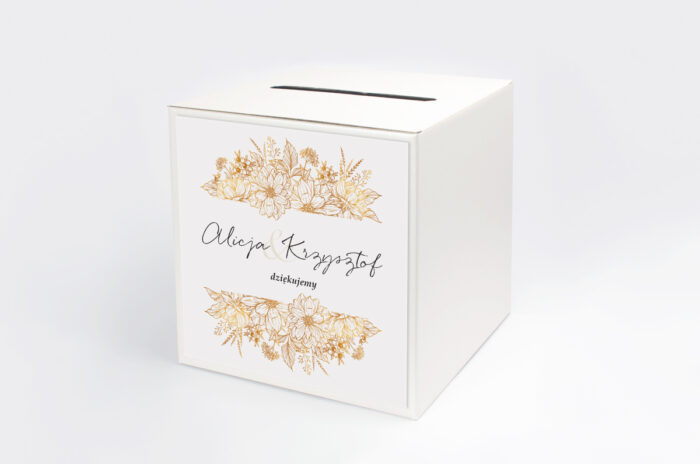 personalizowane-pudelko-na-koperty-jednokartkowe-z-kwiatami-zlote-kwiaty-papier-satynowany-pudelko-