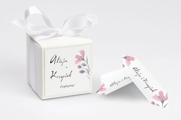 Pudełeczko z personalizacją - Bukiet ze wstążką - Delikatnie różowy