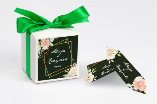 Pudełeczko z personalizacją do zaproszenia - Kontrastowe z kwiatami - Jasna kompozycja kwiatowa