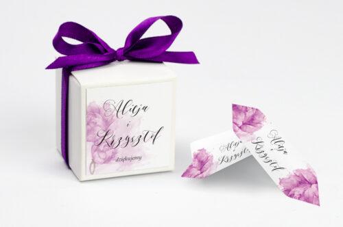 Pudełeczko z personalizacją do zaproszenia Namalowane Kwiaty - Fioletowe kwiaty