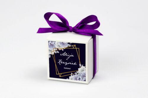 Pudełeczko z personalizacją do zaproszenia - Kontrastowe z kwiatami - Niebieskie róże