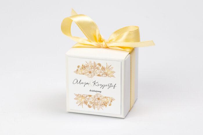 Ozdobne pudełeczko z personalizacją - Jednokartkowe z Kwiatami - Złote kwiaty