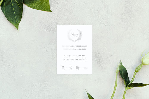 rsvp do zaproszenia minimalistyczne laur - srebrne