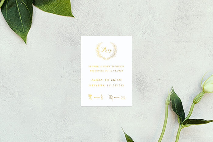 rsvp do zaproszenia minimalistyczne laur - złote