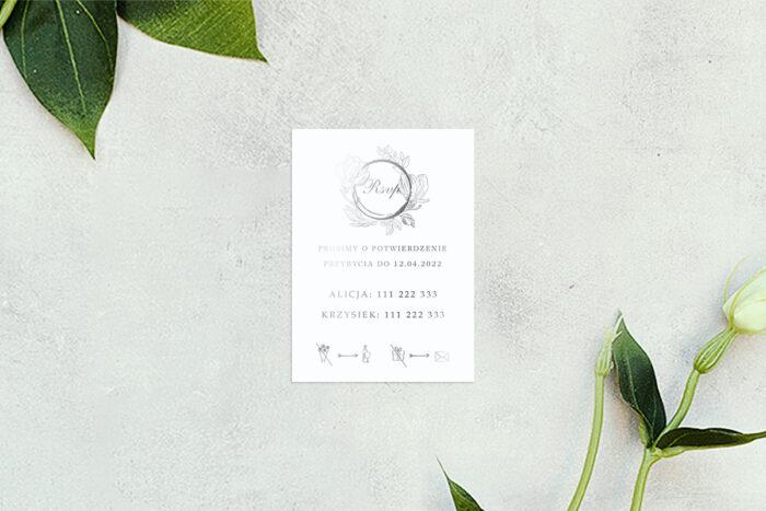 rsvp do zaproszenia minimalistyczne magnolia - srebrne